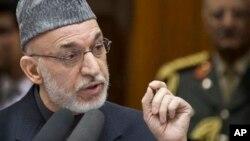 6일 아프간 국회에서 연설하는 카르자이 대통령