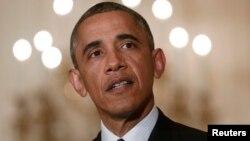 美國總統奧巴馬5月15日在白宮東廂發表關於國稅局的講話