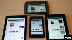 Comparados con el iPad 2 (izquierda) y el Sony Tablet S (derecha), estos dos táblets son de tamaño reducido.