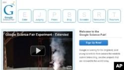 រូបភាពគេហទំព័រនៃទំព័រការប្រកួតប្រជែងវិទ្យាសាស្ត្រ Google Science Fair។