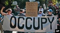 지난해 9월 미국 뉴욕의 금융 중심지 월가에서 제도 금융권에 항의하는 시위가 벌어졌다. (자료사진)