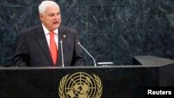 리카르도 마르티넬리 파나마 대통령이 25일 유엔 총회에서 연설하고 있다.