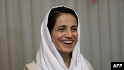FILE - Iranian lawyer Nasrin Sotoudeh is pictured at her home in Tehran, Sept. 18, 2013.
