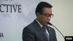 Menteri Koordinator bidang Politik, Hukum dan Keamanan Djoko Suyanto. (VOA/Iris Gera)