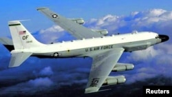 A RC-135 U.S. reconnaissance plane is shown in an undated military handout photo.