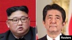 김정은 북한 국무위원장과 아베 신조 일본 총리.