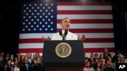 "President Amerika Barack Obama memberikan sambutan di sebuah tempat rekreasi ""the Betty Ann Ong"" di San Francisco (25/11)."