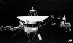 This undated photo provided by NASA's Jet Propulsion Lab shows the Voyager spacecraft in Pasadena, Calif. On right side of the craft is the girder-like boom that holds science project equipment and the imaging camera.