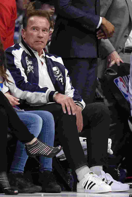 L'acteur Arnold Schwarzenegger lors du All-Star game de la NBA, le 18 février 2018, à Los Angeles.