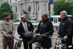 Bike to Work Day with Philadelphia Bicycle Coalition Executive Director Alex Doty, Mayor Michael Nutter and Congressmen Chaka Fattah and Bob Brady.