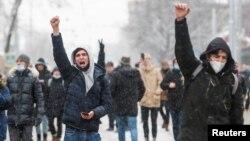 Những người biểu tình ủng hộ ông Navalny tuần hành ở Moscow vào ngày 31/1/2021.