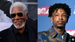Foto-montagem Morgan Freeman e 21 Savage