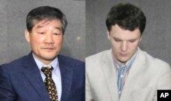 북한에 억류 중인 미국인들. 한국계 미국인 김동철 목사(왼쪽)와 대학생 오토 프레데릭 웜비어.