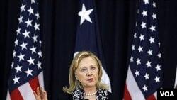 Menlu AS Hillary Clinton menekankan pentingnya ketersediaan air bersih pada Hari Air Sedunia 2012 di Washington.