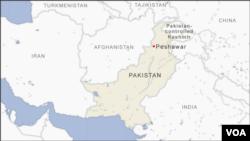 ແຜນທີ່ເມືອງເພສຊາວາ(Peshawar) ໃນປາກິສຖານ.