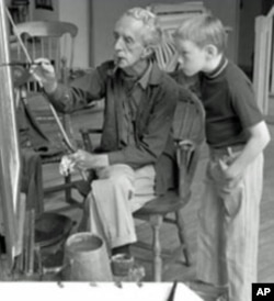 Norman Rockwell in his studio with model Hank Bergmans, about 1970.