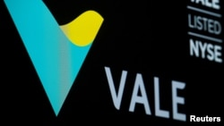 Brazilian mining company Vale S.A. logo and trading symbol are displayed on a screen at the New York Stock Exchange (NYSE) in New York, Dec. 6, 2017.