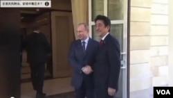 今年2月8日,安倍晉三在許多西方國家首腦抵制索契冬奧會的情況下與普京見面並出席了冬奧會開幕式