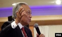 Cựu tổng trưởng Nguyễn Đức Cường, Chủ tịch Hội đồng Quản trị IRCC, phát biểu trong buổi họp mặt (Ảnh: Bùi Văn Phú)