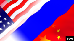 US Russia and China Flags