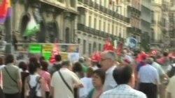 西班牙工會成員抗議緊縮措施
