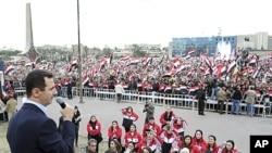 敘利亞總統阿薩德星期一在大馬士革出席支持者的集會