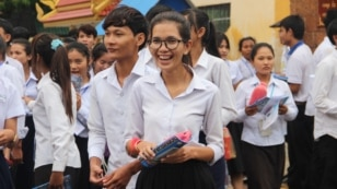 Students walk out of Santhormok examination center on the first day of grade 12 examination, on August 24th, 2015. This is the second year that high school examination has been tighten since new Education Minister, Hang Choun Naron started his office in o