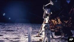 L'astronaute Edwin E. Aldrin Jr. foulant le sol lunaire durant la mission Apollo 11 (Nasa)