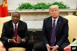 President Donald Trump sits with Kenyan President Uhuru Kenyatta in the White House, Aug. 27, 2018.