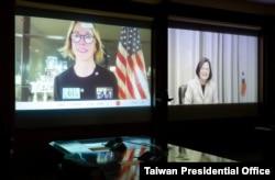 台灣總統蔡英文與美國駐聯合國常任代表克拉夫特大使1月14日進行視頻談話。(圖片來源台灣總統府網站)