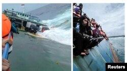 یہ دونوں تصاویر انڈونشیا کے جزیرے سولاویسی کے قریب حادثے کا شکار ہونے والی کشتی اور اس کے مسافرورں کی ہیں۔ تصاویر حادثے سے کچھ دیر پہلے کی ہیں۔ 3 جولائی 2018