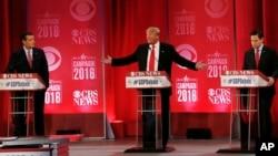 지난 13일 미국 사우스캐롤라이나주 그린빌에서 열린 공화당 대선 토론회에 테드 크루즈, 도널드 트럼프, 마르코 루비오(왼쪽부터) 후보 등이 참석했다.
