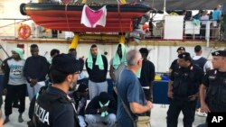 29일 난민구조선이 이탈리아 람파두사 항에 입항했다