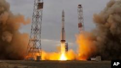 Tàu ExoMars Trace Gas Orbiter được phóng lên không gian hôm nay từ sân bay vũ trụ Baikonur ở Kazakhstan, ngày 14/3/2016.