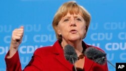 FILE - German Chancellor and leader of the Christian Democratic Union (CDU) Angela Merkel
