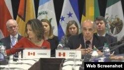 Durante las palabras de bienvenida en el marco de la tercera sesión de reuniones del Grupo de Lima que se realiza en Toronto, se hizo un llamado generalizado a la comunidad internacional para tomar acciones más concretas y rápidas para restaurar la democracia en Venezuela.