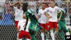Idrissa Gueye celebra el primer gol de Senegal en el partido contra Polonia por el Grupo H del Mundial en el estadio Spartak de Moscú, el martes 19 de junio de 2018.