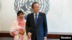 Em Malala Yousafzai gặp Tổng thư ký LHQ Ban Ki-moon tại trụ sở LHQ ở New York hôm 12/7/2013.