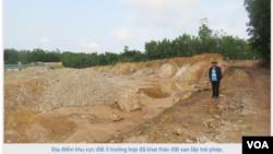 Một địa điểm khai thác đất tại huyện Bố Trạch. (Hình: Trích xuất từ baoquangbinh.vn)