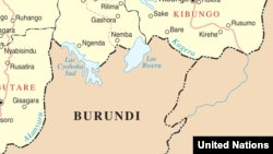 Close up of a UN map of the Rwanda-Burundi Border showing lake Rweru.
