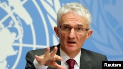 """U. N. Undersecretary-General for Humanitarian Affairs and Emergency Relief Coordinator (OCHA) Mark Lowcock attends a news conference for the launch of the """"Global Humanitarian Overview 2019"""" at the United Nations in Geneva, Switzerland, Dec. 4, 2018."""