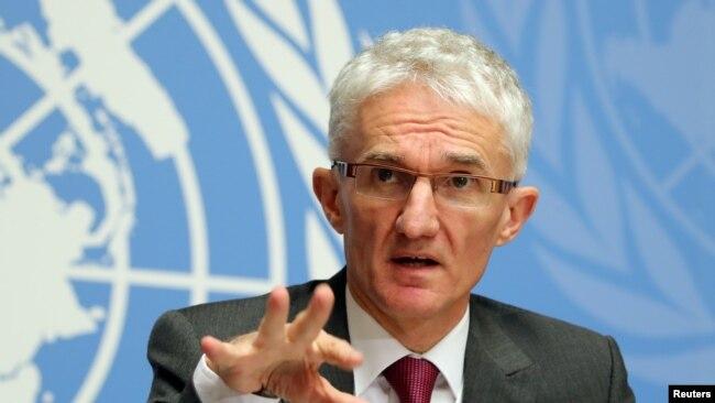 Mark Lowcock, secrétaire général adjoint de l'ONU aux affaires humanitaires et coordinateur des secours d'urgence (OCHA), lors d'une conférence de presse à Genève, en Suisse, le 4 décembre 2018.