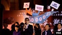香港民主派舉行集氣大會追究前特首涉嫌貪污的UGL案。(美國之音湯惠芸拍攝 )