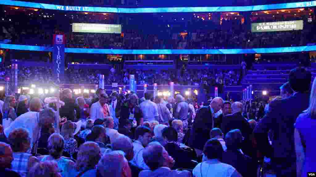 From the floor at the Republican National Convention on Tuesday night, where many Republican politicians took the stage in support of nominated Republican Presidential Candidate, Mitt Romney.