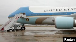 FILE - Air Force One, the plane of U.S. presidents, sits ready for boarding on the tarmac at Joint Base Andrews in Maryland, near Washington, D.C., Dec. 6, 2016.