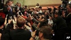 Ngoaị trưởng Trung Quốc Vương Nghị gặp báo chí khi dự hội nghị với khối ASEAN, 6/8/2017