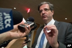 France's Ambassador to the United Nations Francois Delattre speaks to reporters as he arrives for a Security Council consultation, Feb. 13, 2017, at U.N. headquarters.