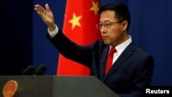 Người phát ngôn Bộ Ngoại giao Trung Quốc Zhao Lijian trong một cuộc họp báo (ảnh tư liệu, tháng 9/2020).
