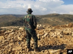 FILE - Hezbollah fighter looks toward Syria while standing in the fields of the Lebanese border village of Brital, Lebanon.