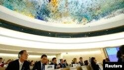 스위스 제네바에서 열린 유엔 인권이사회에서 북한인권 문제를 논의하고 있다. (자료사진)